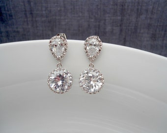 Wedding cz earring , Bridal shower earring , bridesmaid earring , Cz drop earring , bridal.cz.earring