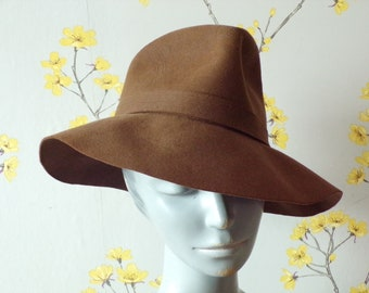 Vintage 1940s 50s Brown Felt Fedora Ladies Fedora Stitching Detail Hut Breiter Munchen Vintage Hat Made In Germany