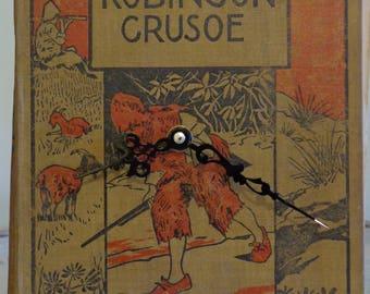 Antique The Adventures of Robinson Cursoe Book Clock