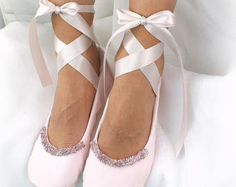 Light Pink Wedding Ballet Flats Shoes Beaded Bridal Shoes with Crystals Elegant Cotton Ballet Slippers Flats with Ankle Straps