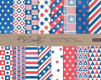 Watercolor Patriotic digital papers, Independence day Digital Paper, 4th July Blue and Red Digital Paper, Watercolor Scrapbooking