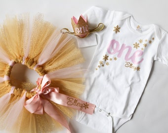 First Birthday Winter Onderland Theme Outfit Set for Baby Girls in Glitter Gold and Light Pink, for 1st Birthday Smash Cake Photos and Party