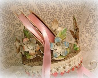 vintage pink satin ribbon deStash . 2 partial rolls