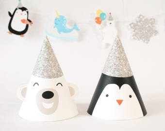 Arctic Party - Party Hat | Penguin Hat, Polar Bear Hat | Arctic Animals | Kids Party Hat | Winter Theme | Arctic Party | Silver Hat