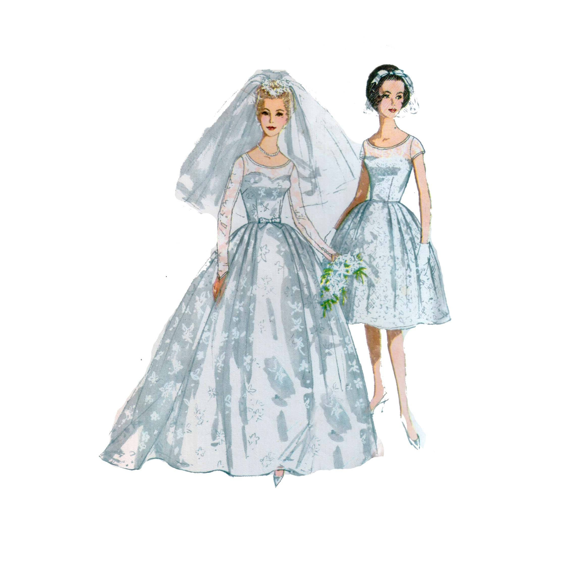 60s uncut Wedding Gown pattern Bridesmaid Dress pattern Party