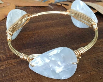 Guitar pick bangle bracelet, handmade bangle, handmade bracelet, bangles