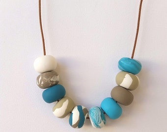 aqua gray-brawn & white statement modern beaded necklace hand made polymer clay