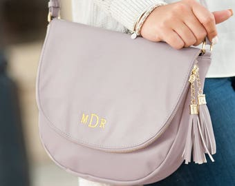 Monogrammed Blush Pink Sienna Tassel Bag