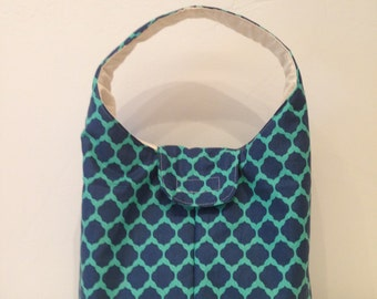 Large Insulated Lunch Bag - Navy and Teal Sultan Design