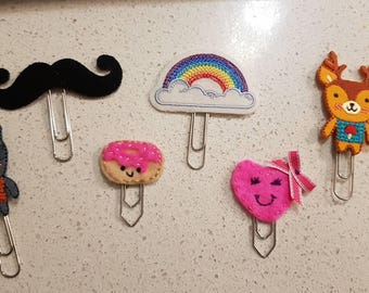 Planner Paperclips - felt paperclip - cute organising