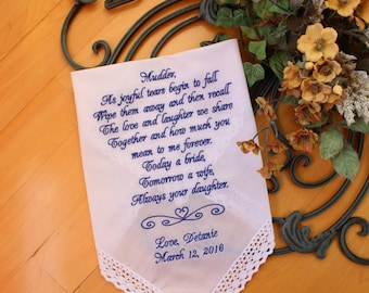As joyful tears begin to fall -WHITE, IVORY Mother of the Bride Hankerchief, Mother of the Bride Gift, Wedding handkerchief LS8LS4F38