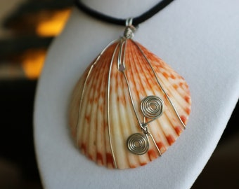 Firey Orange wire wrapped sea shell necklace