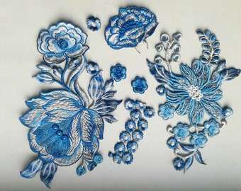 Moks103(p) Set Fantasy blue Flowers Embroidery Patch