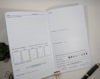 Dream Tracker Large Cahier sized TN Insert Traveler's Notebook Insert Fountain Pen Friendly