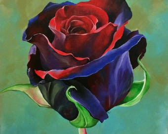 Rose, original acrylic painting print 8x8 inch art