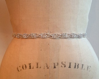 Bridal Belt-Bridal Sash-Bridesmaid Belt-Art Deco Rhinestone Beaded Bridal Sash Belt-Bridesmaid Sash-Small Rhinestone Wedding Dress Sash Belt