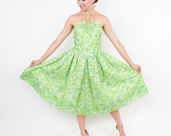 50s Green Floral Halter Dress | Backless Full Skirt Dress |  Small