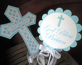 Baptism Centerpiece, Christening Centerpiece, Baptism Decorations - Set of 2