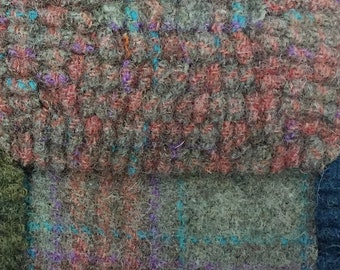 Dragonfly Plaid, Felted Wool Fabric for Rug Hooking, Wool Applique and Crafts