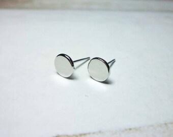 Silver Flat Oval Stud Earrings, Dainty Earrings
