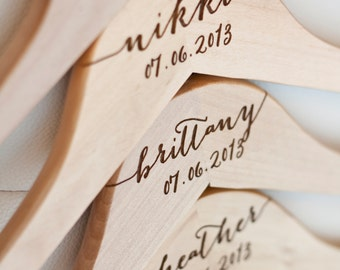 6 - Personalized Bridesmaid Hangers - Engraved Wood