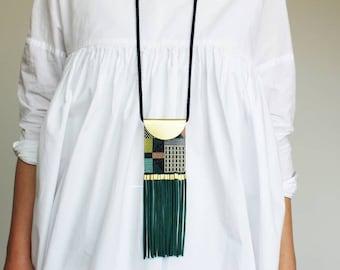 fringe necklace, long necklace, ethnic necklace, brass necklace, tassel necklace, beaded necklace, geometric necklace, boho necklace