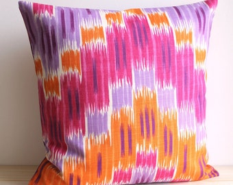 Orange and Pink Ikat Pillow Cover, 16x16, 18x18, Ikat Cushion Cover - Ikat Zigzag Tangerine