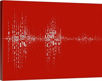 "Soundwave Art™ ""I Love You"" Soundwave Canvas - 12"" x 18"""