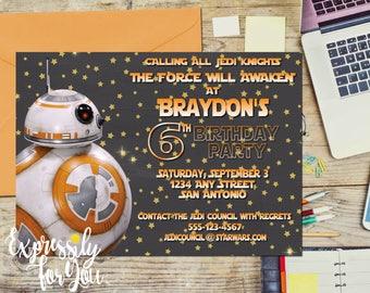 Star Wars Birtyhday Invitation, BB8 Birthday Invitation