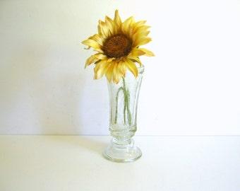 Antique Depression Glass - Clear Glass Vase - Home Decor