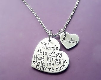 There's this Boy that Kinda Stole my Heart, He Calls calls me Mommy, Gift for Mom, Hand Stamped Mother's Day Necklace, Mommy Necklace