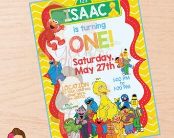 Sesame Street, Elmo, Sesame Street invitation, Elmo invitation, Sesame Street party, Sesame Street birthday, Elmo party, Elmo birthday