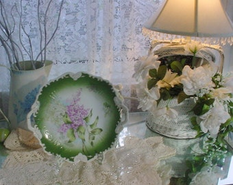 Vintage Porcelain Plate Austrian Serving Dish Florals French Country Cottage Chic
