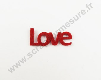 Felt - LOVE red - x 6 pcs