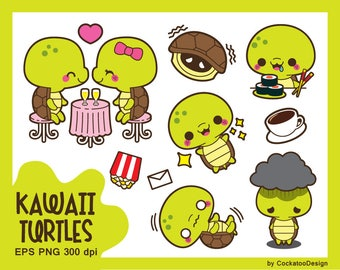 Turtle clipart, kawaii turtle clip art, cute turtle clipart, chores clipart, Valentine clipart, date night clipart, Commercial Use