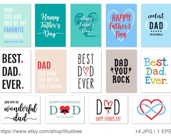 14 Father's day cards, printable fathers day card, best dad ever, happy fathers day, printable card, DIY, 5x7, JPG, EPS, instant download