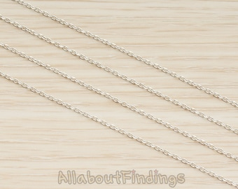 CHN024-R // Glossy Original Rhodium Plated Small Diamond Cut Cable Chain, 1 Meter.