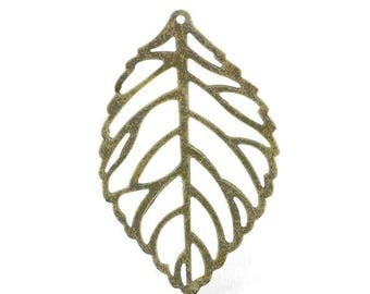 10 charms pendants filigree leaves Bronze 44 x 26 mm