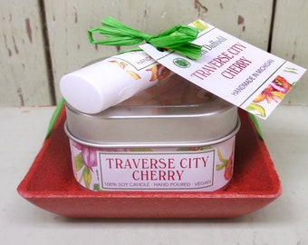 Traverse City Cherry Candle & Lip Dish Kit-  Green Daffodil
