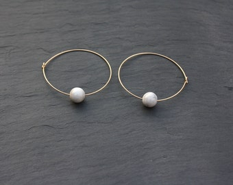 Gold hoop marble earrings | Large hoop with white marble bead | Gold fill hoops | handmade contemporary design | 0.65mm thickness | 4cm wide