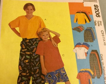 McCalls 9206 Childrens Boys Shirt Pants Shorts and Hat Pattern sizes 7, 8, 10