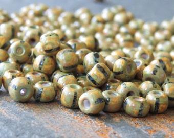 White Black Stripe 6/0 Czech Glass Picasso Seed Bead : 25 grams White Striped Travertine Seed Bead