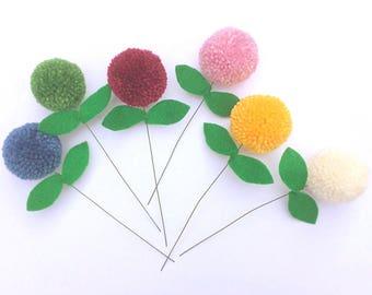 Small pom pom flowers - bunch of handmade pom pom flowers - mother's day, get well soon gifts