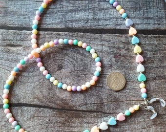 Beaded Glasses Chain - Acrylic Pastels - Spectacle Cord - Holder - neck strap - Retainer