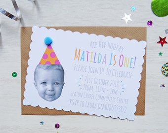 Personalised Face, Happy Head Party Invitation with Scalloped Edges and Pom Pom Party Hats