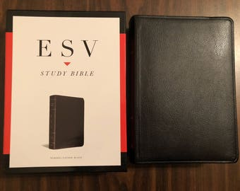 PERSONALIZED ** ESV Study Bible - Black Bonded Leather ** Custom Imprinted