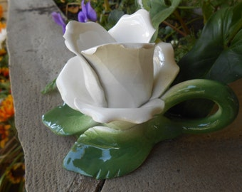 White Rose candle holder