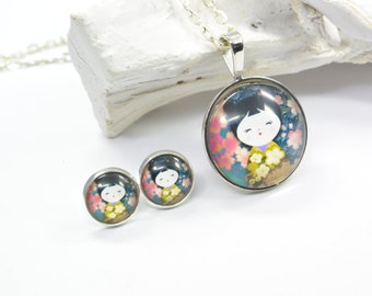 Set jewelry Earring and Necklace Geisha