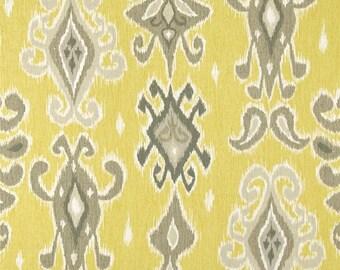 Two  26 x 26  Custom  Pillow Covers -  Ikat - Lemonade Yellow Grey