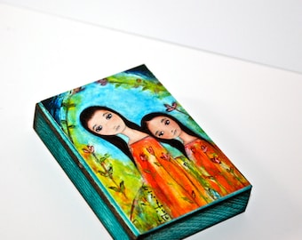 Sisters 2 - ACEO Giclee print mounted on Wood (2.5 x 3.5 inches) Folk Art  by FLOR LARIOS